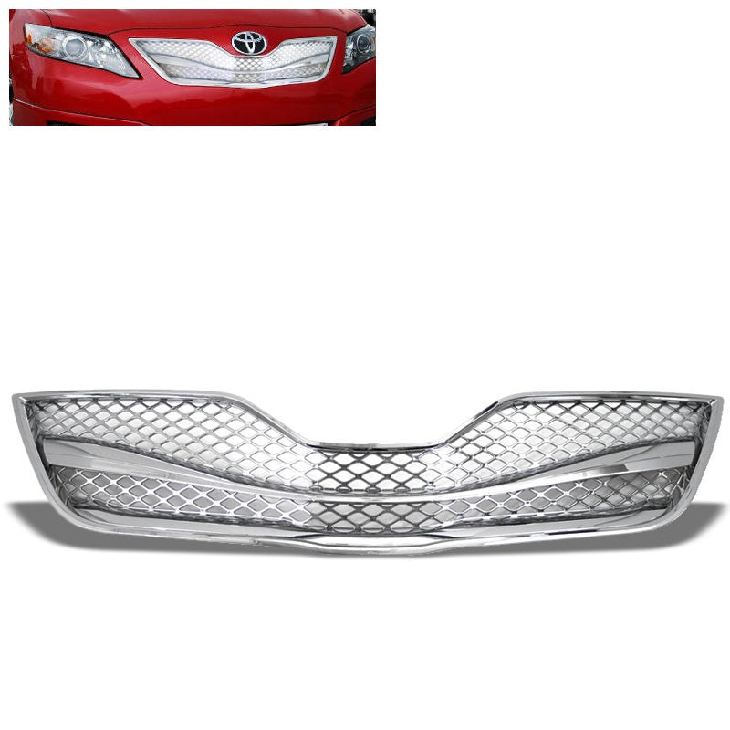 Chrome Badgeless TRD Mesh Style Front Grille For 10-11 Toyota Camry Base/LE/XLE-Grilles-BuildFastCar