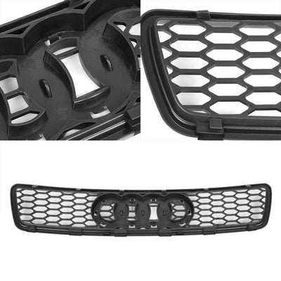 Black Honeycomb Mesh RS Style Replacement Front Grille For 96-00 A4/Quattro B5-Exterior-BuildFastCar