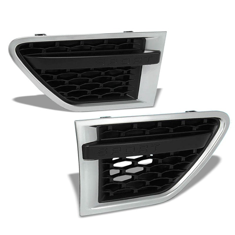 Chrome/Black Honeycomb Mesh Side Vent Grille For 10-12 Ranger Rover 5.0L DOHC-Exterior-BuildFastCar