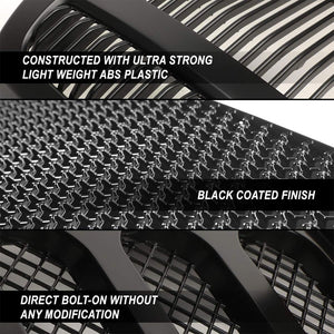 Black Angry Bird/Diamond Mesh Style Front Grille For 07-15 Jeep Wrangler JK V6-Exterior-BuildFastCar