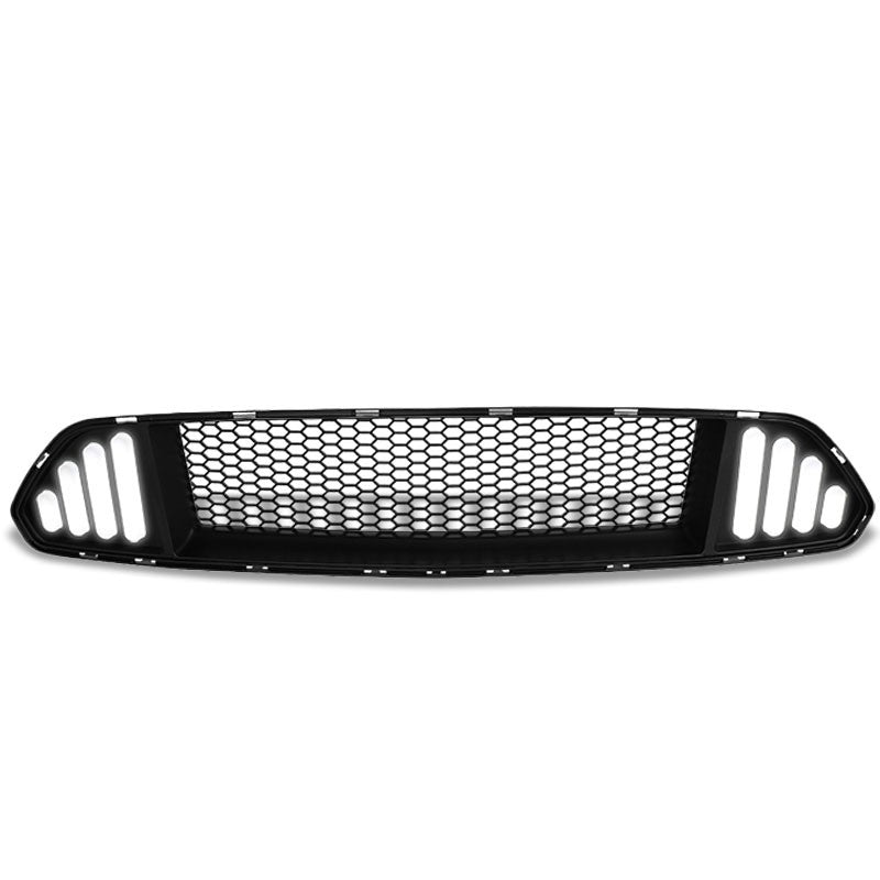 Black Honeycomb Style Front Up Grille+White LED DRL For 15-17 Ford Mustang V6/V8-Exterior-BuildFastCar