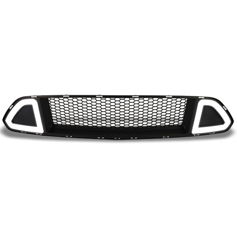 Honeycomb Matte Black Front Up Grille +LED DRL Running Light For 15-17 Mustang-Grilles-BuildFastCar-BFC-FGR-1-FOR15MUS-T1-BK