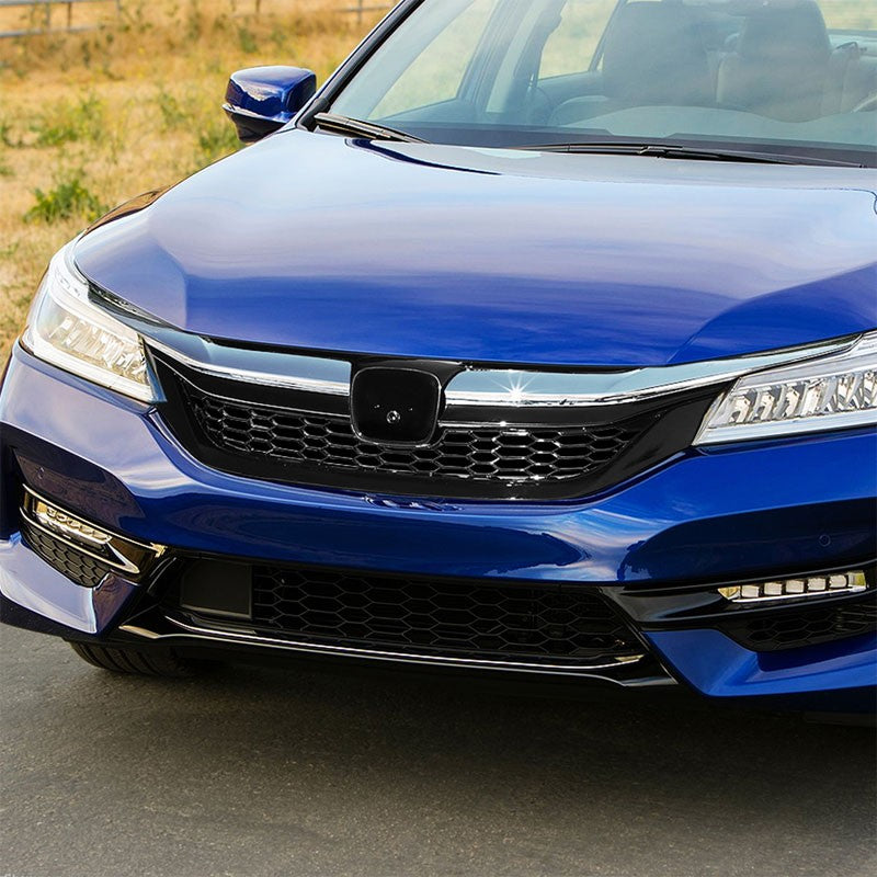 Honeycomb Glossy Black/Chrome Trim Front Upper Grille For 16-17 Accord Sedan-Grilles-BuildFastCar-BFC-FGR-1-HON16ACC-CH