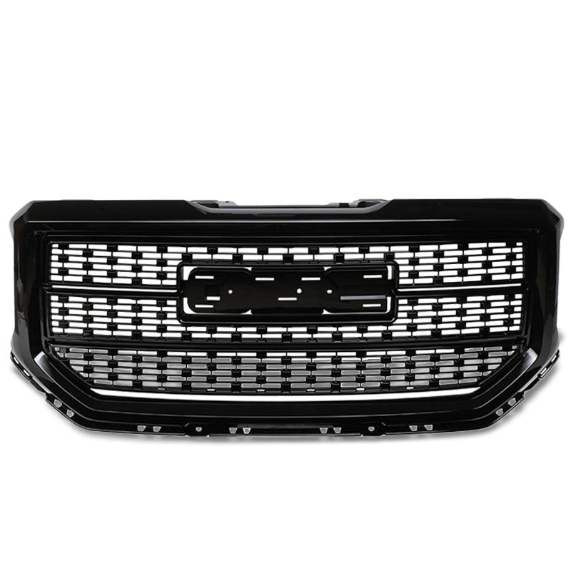Polished Black Denali Style Front Bumper Hood Grille For 16-18 GMC Sierra 1500-Grilles-BuildFastCar