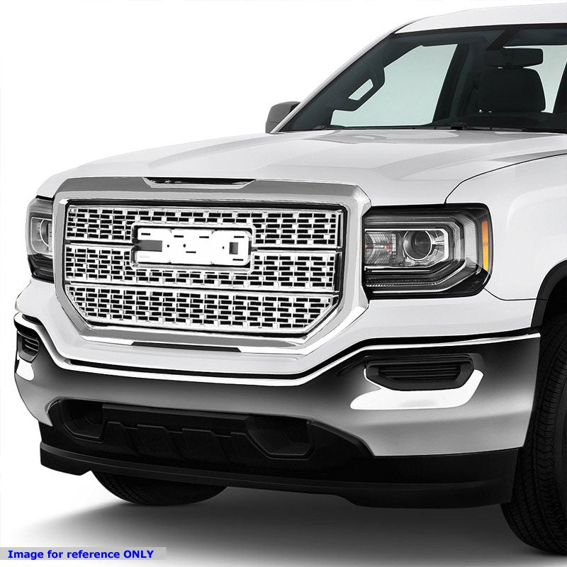 Polished Chrome Denali Style Front Bumper Hood Grille For 16-18 GMC Sierra 1500-Grilles-BuildFastCar