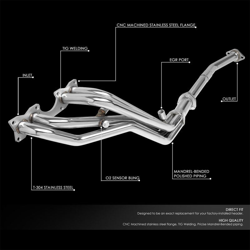Stainless Steel Exhaust Header Manifold For Nissan 90-94 D21/95 Pickup 2.4L SOHC-Performance-BuildFastCar