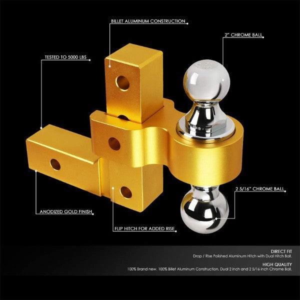 Gold Universal Aluminum Dual Ball Mount Adjustable Trailer Tow Hitch Receiver-Truck & Towing-BuildFastCar-BFC-HITCALU-001GD