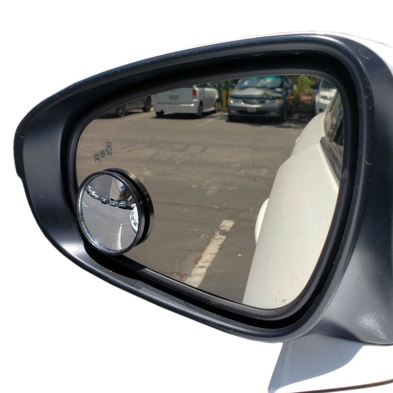2x Circle Fixed Base Universal Stick On Auto Car View Driving Blind Spot Mirror-Exterior-BuildFastCar