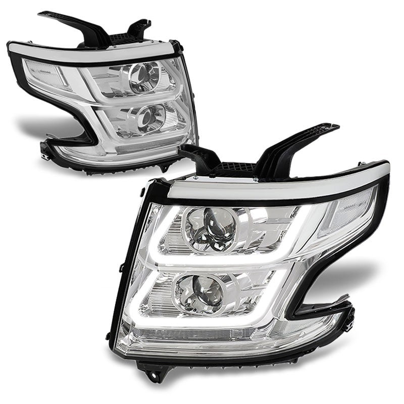 Chrome Housing/Clear Lens 3D U-Bar Projector Headlight For 15-18 Chevrolet Tahoe