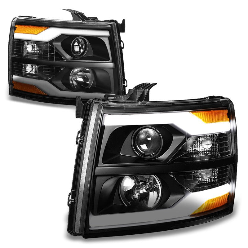 Black Housing/Clear Lens/Amber Bar Projector Headlight For 07-13 Silverado 1500