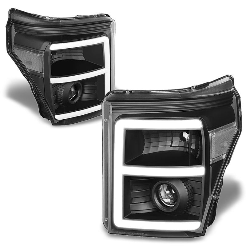 Black Housing/Clear Lens 3D E-Bar Projector Headlight For 11-16 F-250 Super Duty-Lighting-BuildFastCar