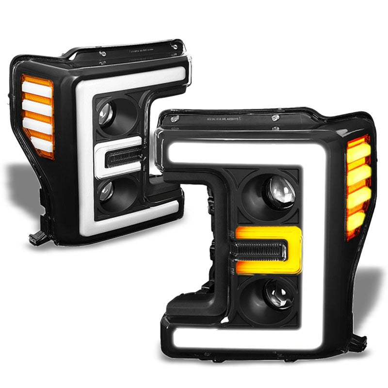 Black Housing/Clear Lens/Amber 3D Projector Headlight For 17-19 F-250 Super Duty-Lighting-BuildFastCar