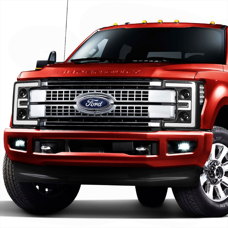 Black Housing/Clear Lens 3D Bar Projector Headlight For 17-19 F-250 Super Duty-Lighting-BuildFastCar