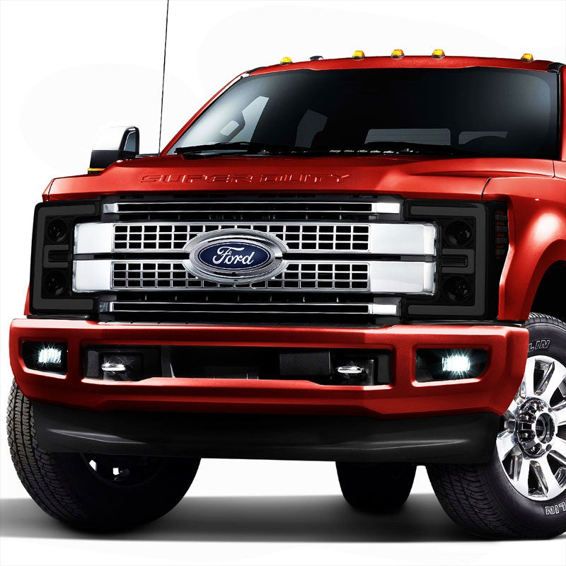 Black Housing/Smoke Lens/Amber 3D Projector Headlight For 17-19 F-250 Super Duty-Lighting-BuildFastCar