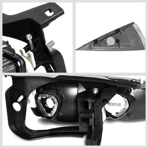 Black Housing Clear Lens Reflector Headlight/Lamp For 95-99 Chevy Cavalier 4DR-Lighting-BuildFastCar-BFC-FHDL-CHEVCAV004-BKAM