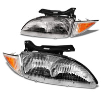 Chrome Housing Clear Lens Reflector Headlight/Lamp For 95-99 Chevy Cavalier 4DR-Lighting-BuildFastCar-BFC-FHDL-CHEVCAV004-CHAM
