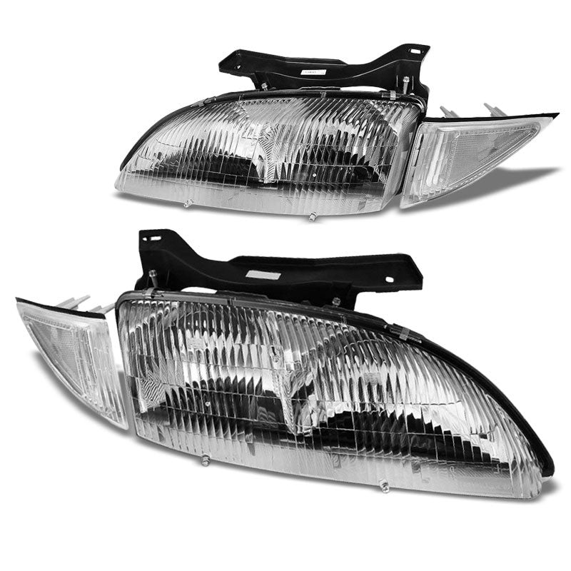 Chrome Housing Clear Lens Reflector Headlight For 95-99 Chevy Cavalier 2DR/4DR-Lighting-BuildFastCar-BFC-FHDL-CHEVCAV004-CHCL1