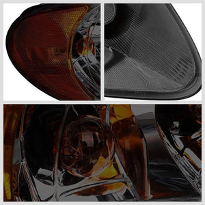 Chrome Housing Smoke Lens Reflector Headlight/Lamp For 01-07 Dodge Caravan 3/4DR-Lighting-BuildFastCar-BFC-FHDL-DODCAR013-SMAM