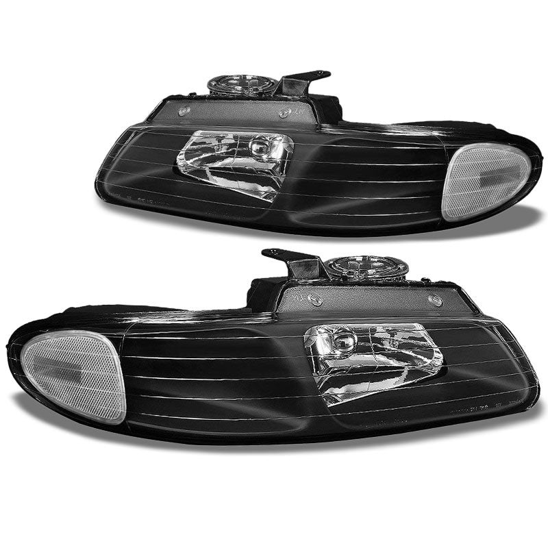 Black Housing Clear Len Reflector Headlight For 96-00 Chryler Grand Voyager 4DR-Lighting-BuildFastCar-BFC-FHDL-CHRYGDV014-BKCL1