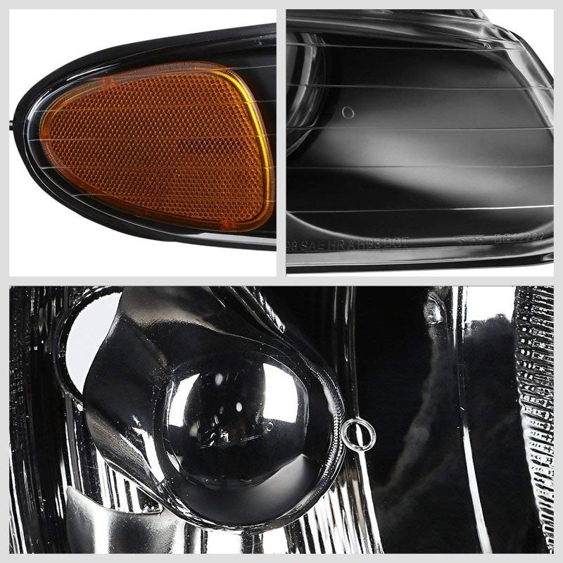 Black Housing Clear Lens Projector Headlight/Lamp For 96-99 Chryler Voyager 4-DR-Lighting-BuildFastCar-BFC-FHDL-CHRYVOY015-BKAM