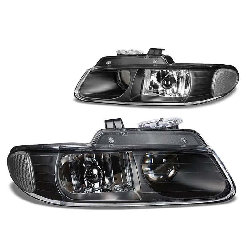 Black Housing Clear Lens Projector Headlight/Lamp For 96-99 Chryler Voyager 4DR-Lighting-BuildFastCar-BFC-FHDL-CHRYVOY015-BKCL1