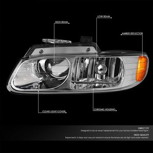 Chrome Housing Clear Lens Projector Headlight/Lamp For 96-99 Chryler Voyager-Lighting-BuildFastCar-BFC-FHDL-CHRYVOY015-CHAM