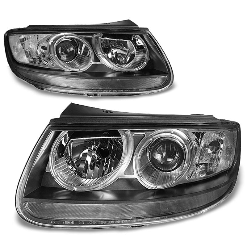 Black Housing/Clear Lens OE Reflector Headlight For 07-12 Hyundai Santa Fe 2.4L