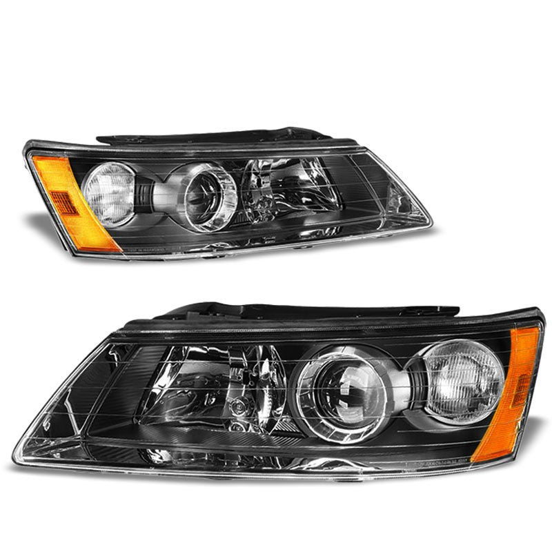 Black Housing/Clear Lens/Amber OE Projector Low Beam Headlight For 06-08 Sonata