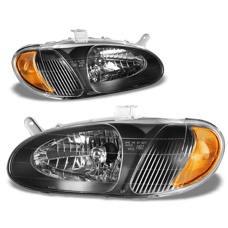 Black Housing/Clear Lens/Amber OE Reflector Headlight For 98-01 Kia Sephia 1.8L-Lighting-BuildFastCar