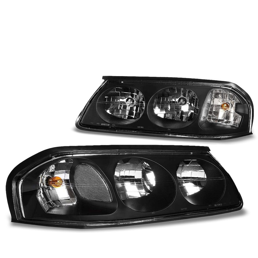 Black Housing Head/Lamp Light Clear Corner/Reflector For Chevy 00-05 Impala V6-Lighting-BuildFastCar