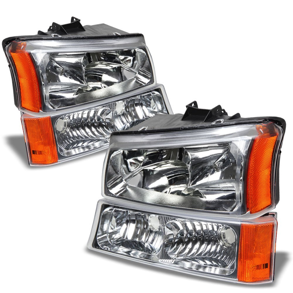 Chrome Housing Clear Lens Reflector Headlight For 03-06 Silverado 1500/2500/3500-Lighting-BuildFastCar
