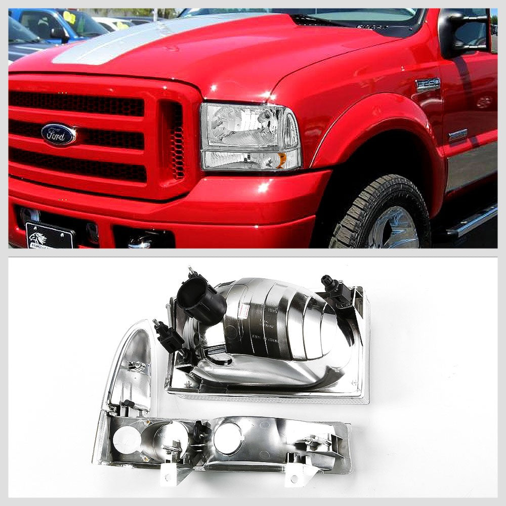 Chrome Headlamp+Amber Corner Signal Light For Ford 99-04 F250-F550 Super Duty-Lighting-BuildFastCar