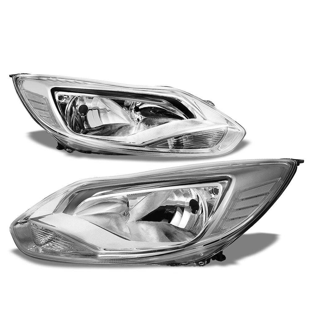 chrome housing clear lens reflector halogen headlight for ford 12-14 focus 2.0l