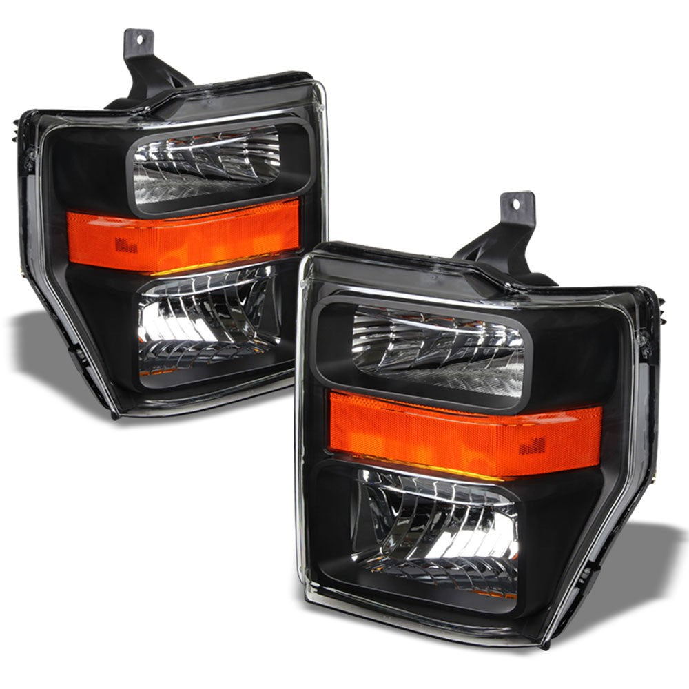 Black Housing Headlight Lamp Light Amber Reflector For 08-10 Super Duty F-Series-Lighting-BuildFastCar