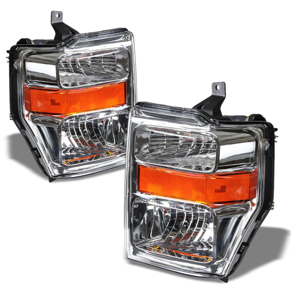 Chrome Headlight Lamp Light Amber Signal/Reflector For 08-10 Super Duty F-Series-Lighting-BuildFastCar