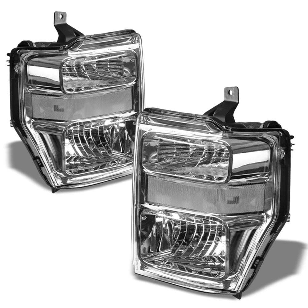Chrome Housing Headlight Lamp Light+Tinted Signal For 08-10 Super Duty F-Series-Lighting-BuildFastCar
