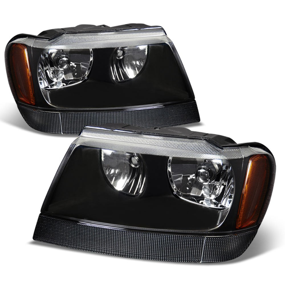 black housing reflector headlight+amber side for jeep 99-04 grand cherokee wj