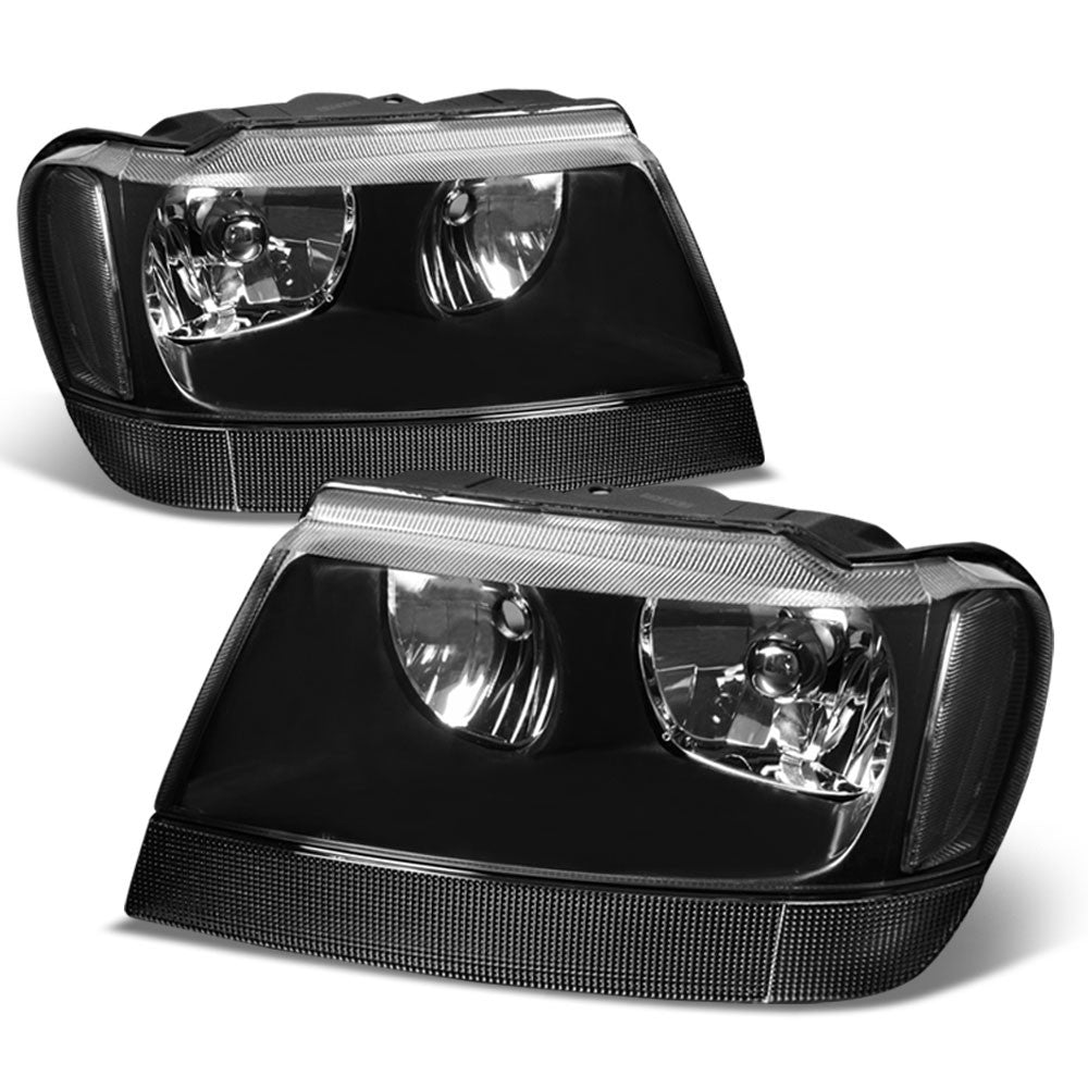 black housing clear lens reflector headlight for jeep 99-04 grand cherokee wj