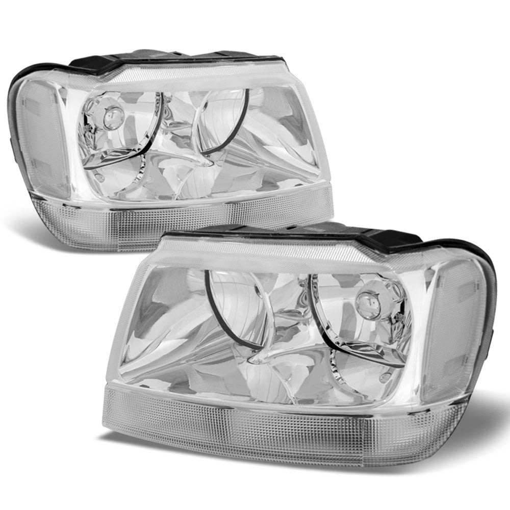 chrome housing reflector headlight+clear side for jeep 99-04 grand cherokee wj