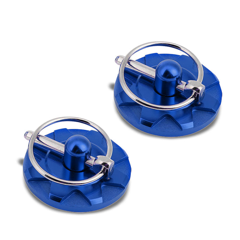 Blue Race Billet Style Aluminum Cosmetic Front Bonnet Hood Lock Pin+Cable+Tape-Hood/Bonnet-BuildFastCar