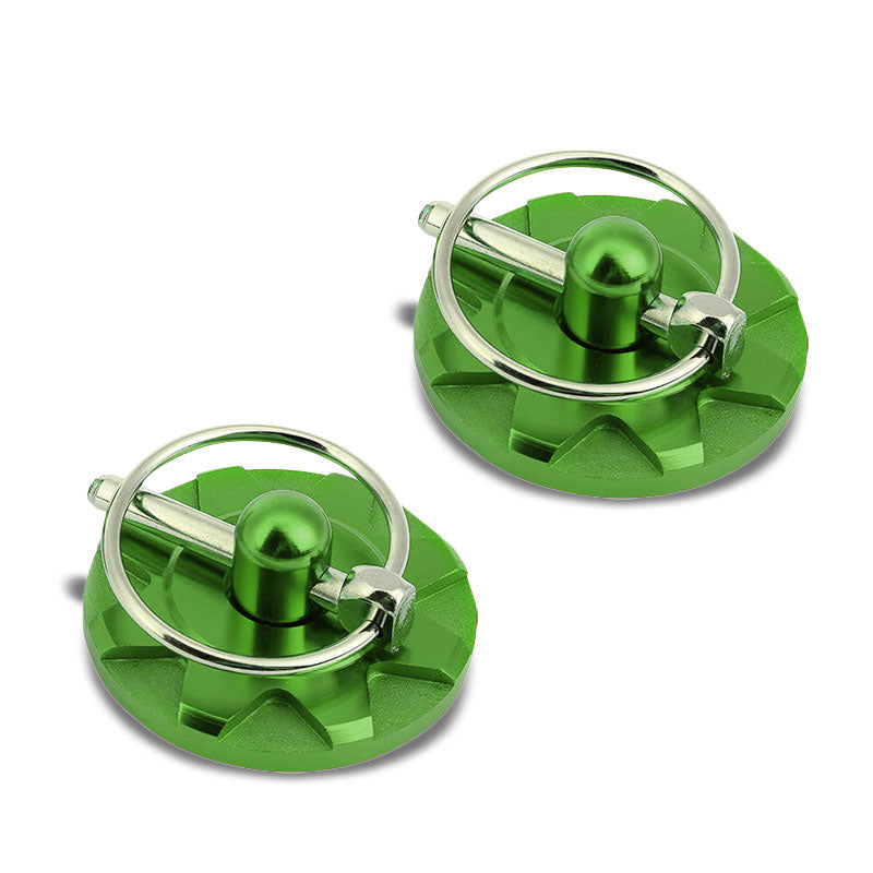 Green Race Billet Style Aluminum Cosmetic Front Bonnet Hood Lock Pin+Cable+Tape-Hood/Bonnet-BuildFastCar