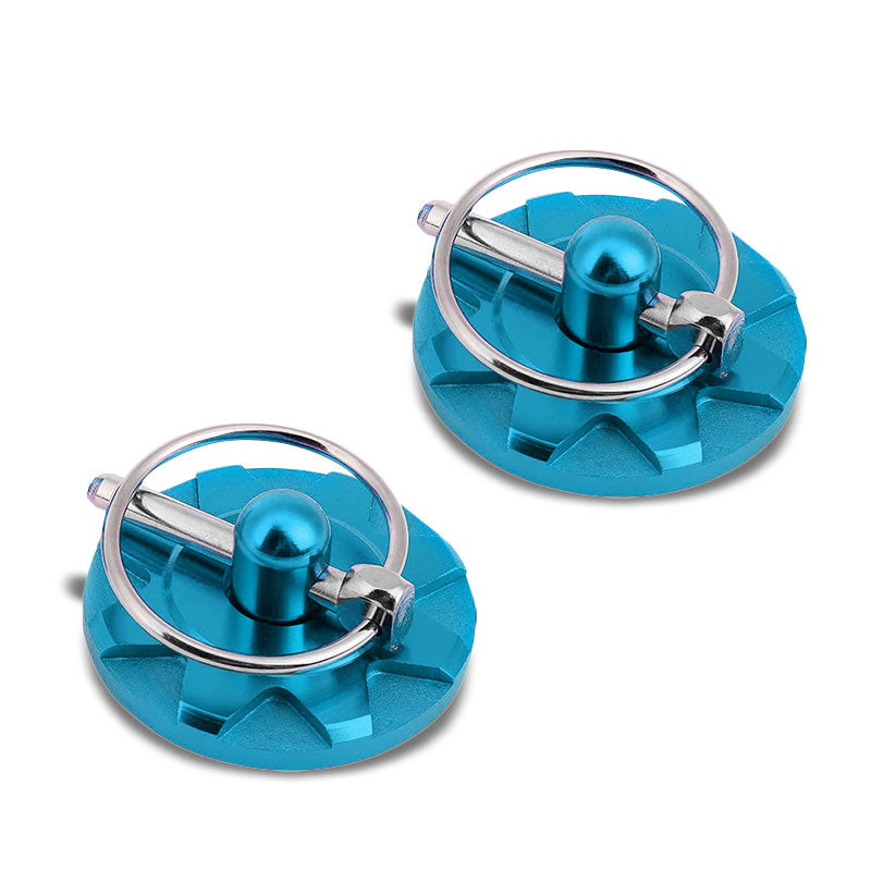Light Blue Racing Billet Style Cosmetic Front Bonnet Hood Lock Pin+Cable+Tape-Hood/Bonnet-BuildFastCar