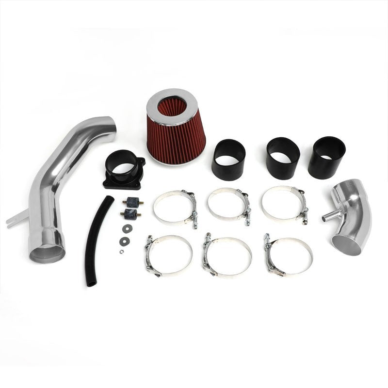 "2.75"" Polish Pipe Red Cone Filter Cold Air Intake Kit For 02-06 Sentra SE-R-Performance-BuildFastCar"
