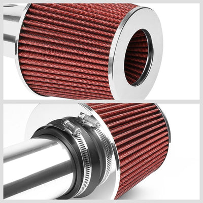 "2.50"" Polish Pipe Red Cone Filter Cold Air Intake Kit For 98-02 Accord 2.3L L4-Performance-BuildFastCar"
