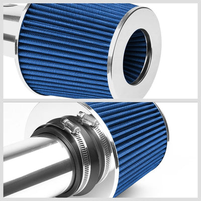 "2.50"" Polish Pipe Blue Cone Filter Cold Air Intake Kit For 01-05 Civic EX 1.7L-Performance-BuildFastCar"