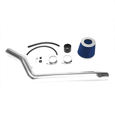 "2.50"" Polish Pipe Blue Cone Filter Cold Air Intake Kit For 96-00 Civic EX 1.6L-Air Intake Systems-BuildFastCar"