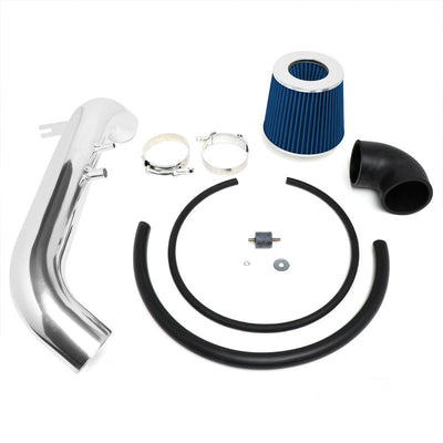 "3.00"" Polish Pipe Blue Cone Filter Cold Air Intake Kit For 02-05 Honda Civic Si-Performance-BuildFastCar"