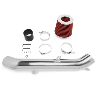 Polish Pipe Red Dry Cone Filter Shortram Air Intake Kit For 03-06 Infiniti G35-Performance-BuildFastCar