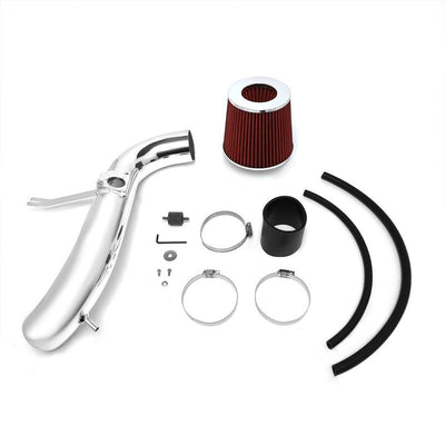 Polish Pipe Red Dry Cone Filter Shortram Air Intake Kit For 01-05 IS300 3.0L L6-Performance-BuildFastCar