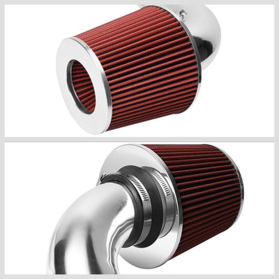 Polish Pipe Red Dry Cone Filter Shortram Air Intake Kit For 01-05 Honda Civic EX-Performance-BuildFastCar